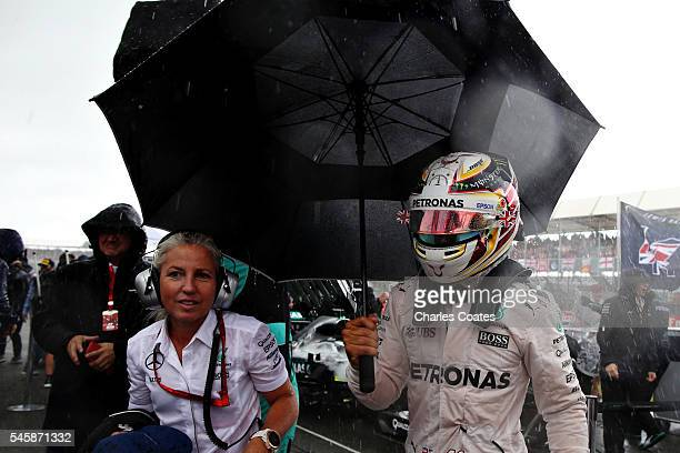 Lewis Hamilton of Great Britain and Mercedes GP on the grid before the Formula One Grand Prix of Great Britain at Silverstone on July 10 2016 in...