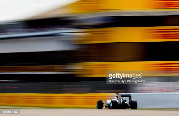 Lewis Hamilton of Great Britain and Mercedes GP Petronas drives during the Spanish Formula One Grand Prix at Circuit de Catalunya on May 11, 2014 in...