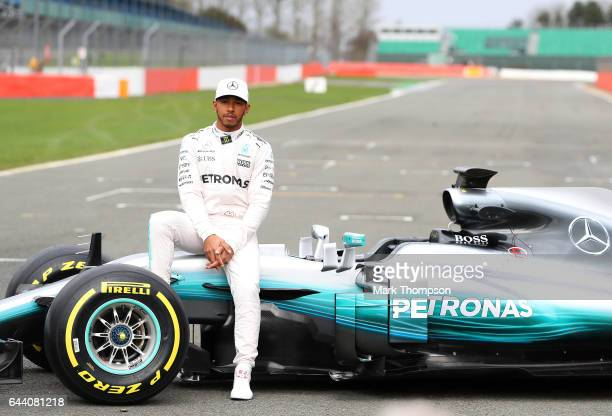 Lewis Hamilton of Great Britain and Mercedes GP poses during the launch of the Mercedes formula one team's 2017 car the W08 at Silverstone Circuit on...