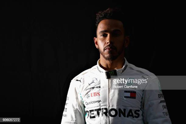 Lewis Hamilton of Great Britain and Mercedes GP poses for a photo during previews ahead of the Australian Formula One Grand Prix at Albert Park on...