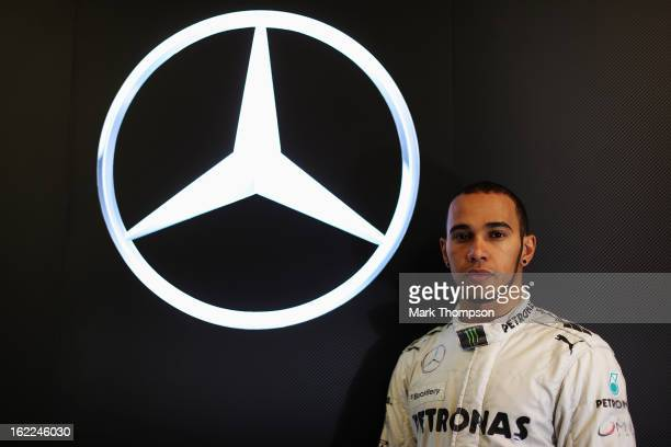 Lewis Hamilton of Great Britain and Mercedes GP poses for a portrait during day three of Formula One winter test at the Circuit de Catalunya on...