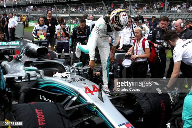 Lewis Hamilton of Great Britain and Mercedes GP prepares to drive on the grid before the Formula One Grand Prix of Mexico at Autodromo Hermanos...