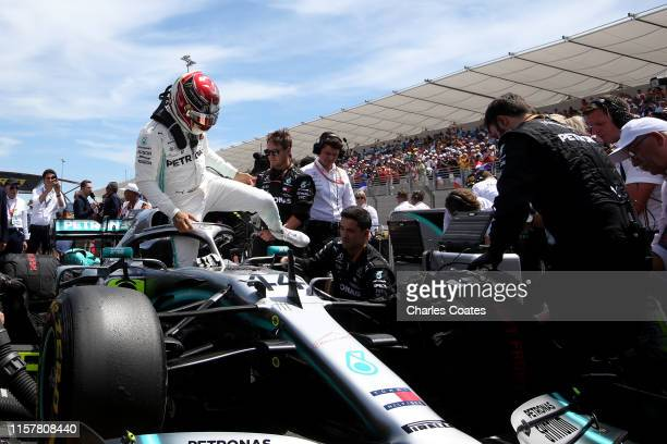 Lewis Hamilton of Great Britain and Mercedes GP prepares to drive on the grid before the F1 Grand Prix of France at Circuit Paul Ricard on June 23,...