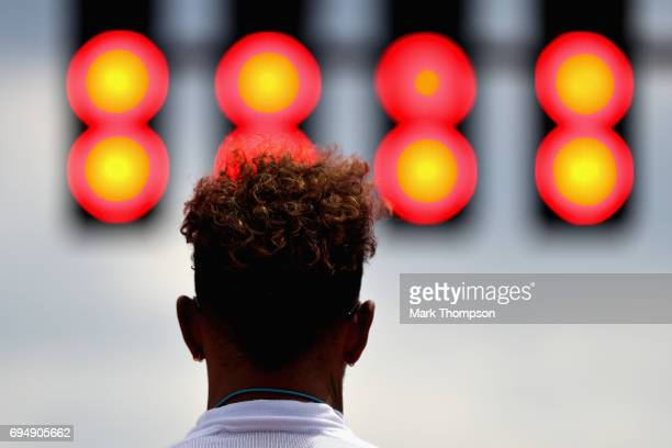 Lewis Hamilton of Great Britain and Mercedes GP prepares to drive on the grid during the Canadian Formula One Grand Prix at Circuit Gilles Villeneuve...