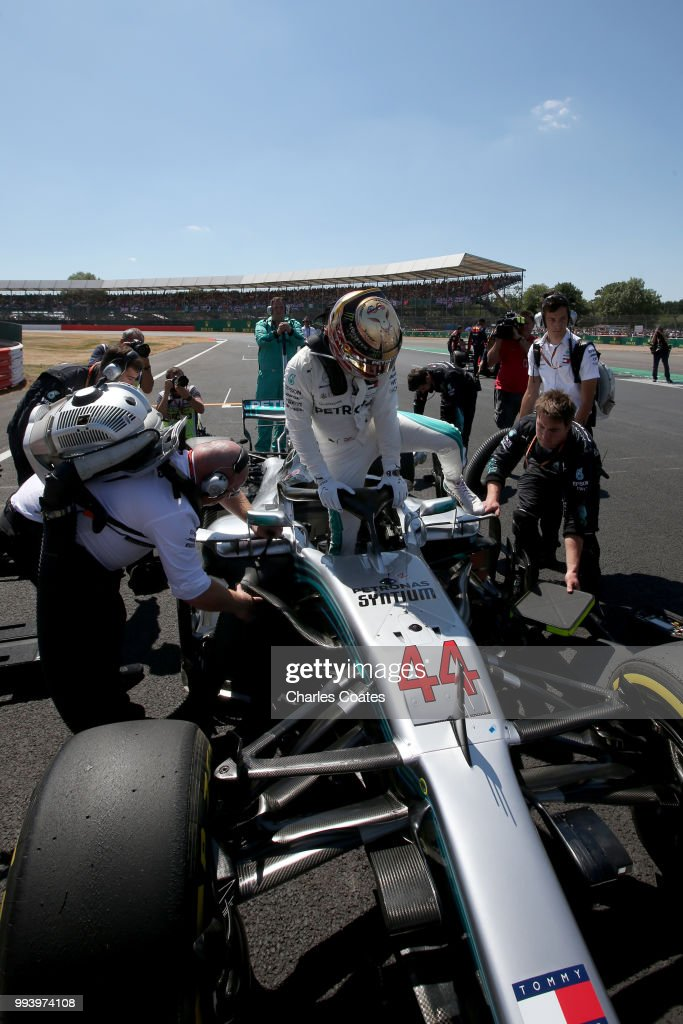 Lewis Hamilton of Great Britain and Mercedes GP prepares to drive on the grid before the Formula One Grand Prix of Great Britain at Silverstone on July 8, 2018 in Northampton, England.