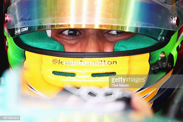 Lewis Hamilton of Great Britain and Mercedes GP prepares to drive during the final practice session prior to qualifying for the Bahrain Formula One...