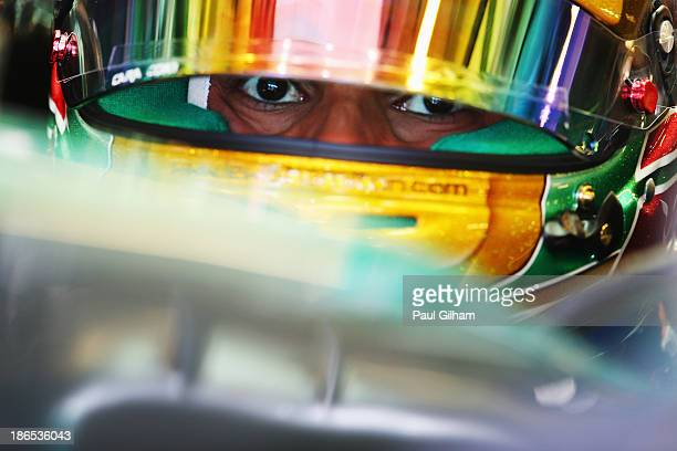 Lewis Hamilton of Great Britain and Mercedes GP prepares to drive during practice for the Abu Dhabi Formula One Grand Prix at the Yas Marina Circuit...