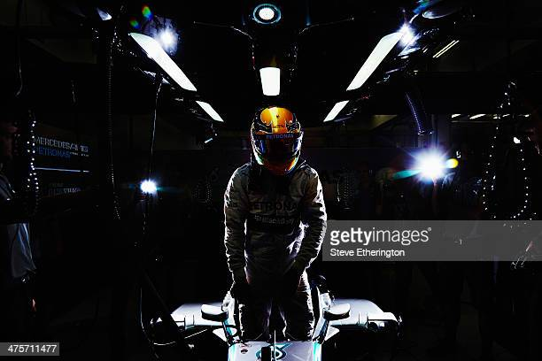 Lewis Hamilton of Great Britain and Mercedes GP prepares to drive during day two of Formula One Winter Testing at the Bahrain International Circuit...