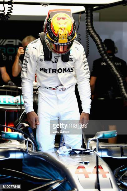 Lewis Hamilton of Great Britain and Mercedes GP prepares to drive during practice for the Formula One Grand Prix of Austria at Red Bull Ring on July...