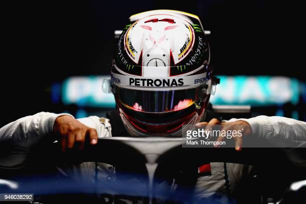 Lewis Hamilton of Great Britain and Mercedes GP prepares to drive during qualifying for the Formula One Grand Prix of China at Shanghai International...