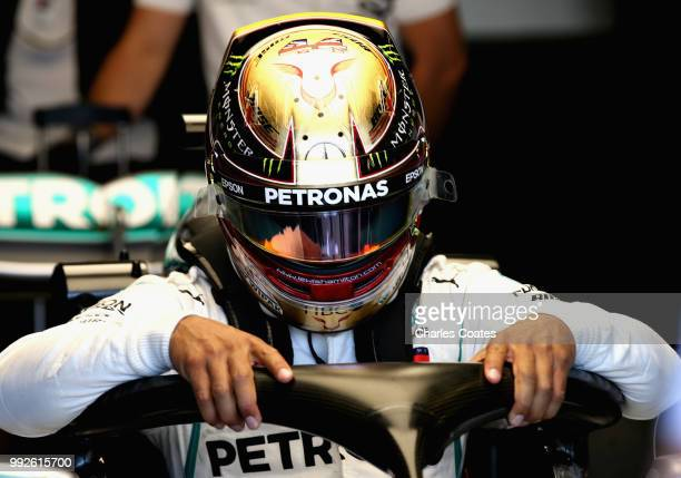 Lewis Hamilton of Great Britain and Mercedes GP prepares to drive during practice for the Formula One Grand Prix of Great Britain at Silverstone on...