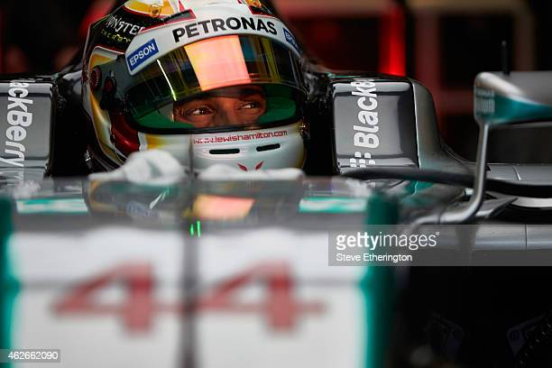 Lewis Hamilton of Great Britain and Mercedes GP prepares to exit the garage during day two of Formula One Winter Testing at Circuito de Jerez on...