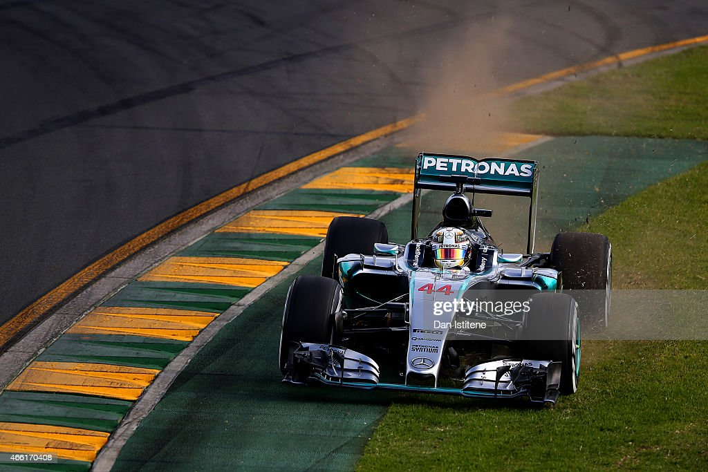 Lewis Hamilton of Great Britain and Mercedes GP runs wide during qualifying for the Australian Formula One Grand Prix at Albert Park on March 14, 2015 in Melbourne, Australia.