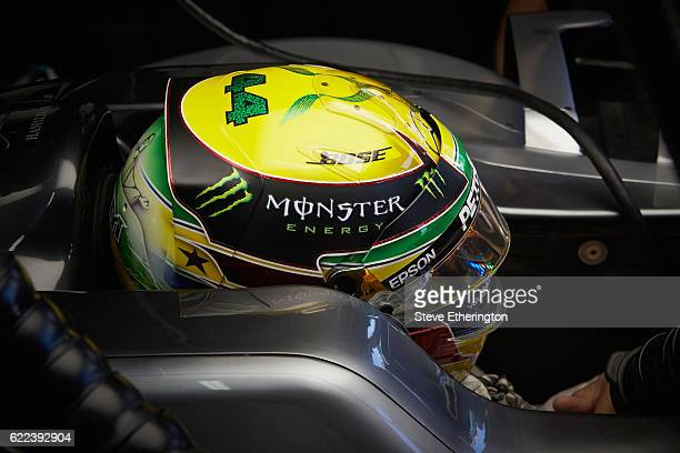Lewis Hamilton of Great Britain and Mercedes GP sits in his car in the garage during practice for the Formula One Grand Prix of Brazil at Autodromo...