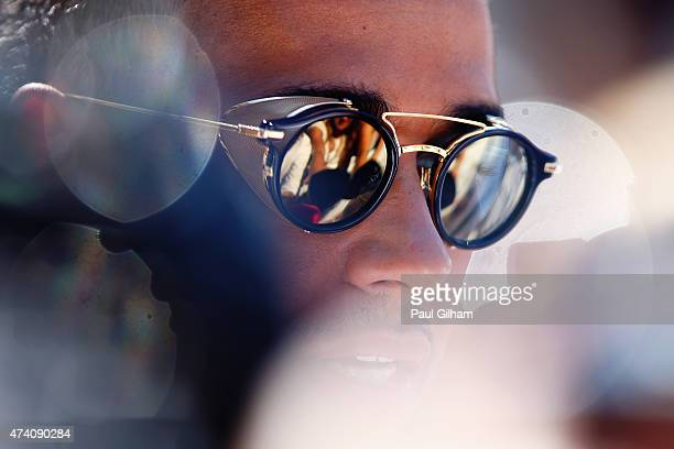 Lewis Hamilton of Great Britain and Mercedes GP speaks with members of the media in the paddock during previews to the Monaco Formula One Grand Prix...