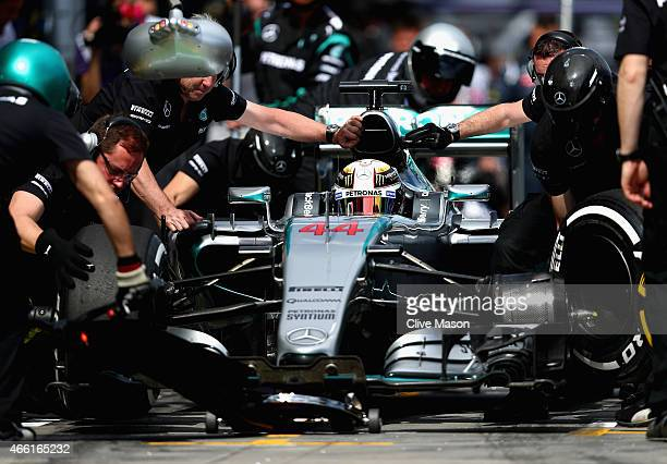Lewis Hamilton of Great Britain and Mercedes GP stops for a tyre change during final practice for the Australian Formula One Grand Prix at Albert...