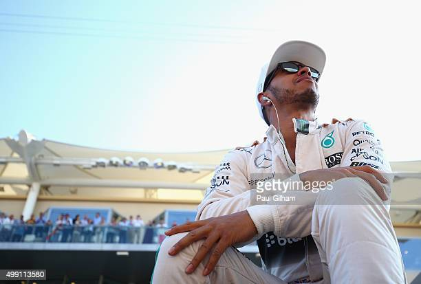 Lewis Hamilton of Great Britain and Mercedes GP takes part in the drivers' parade before the Abu Dhabi Formula One Grand Prix at Yas Marina Circuit...