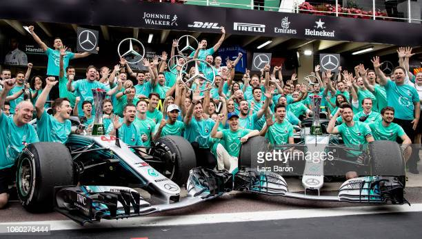 Lewis Hamilton of Great Britain and Mercedes GP, Valtteri Bottas of Finland and Mercedes GP, Mercedes GP Executive Director Toto Wolff and the rest...