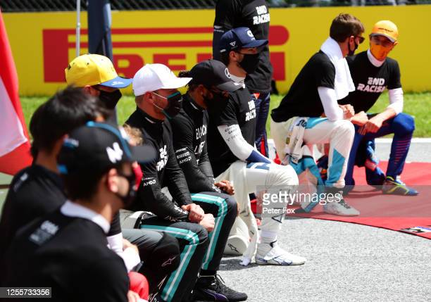Lewis Hamilton of Great Britain and Mercedes GP Valtteri Bottas of Finland and Mercedes GP and Pierre Gasly of France and Scuderia AlphaTauri take a...