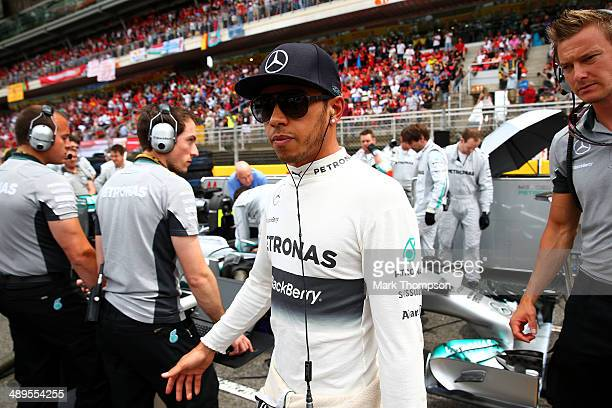 Lewis Hamilton of Great Britain and Mercedes GP walks along the grid during the Spanish Formula One Grand Prix at Circuit de Catalunya on May 11 2014...