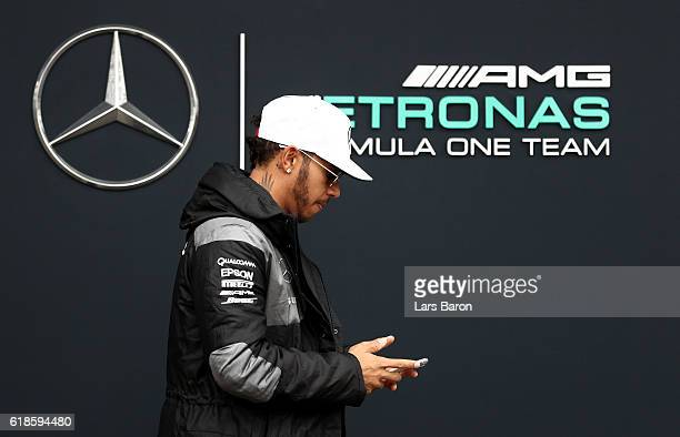 Lewis Hamilton of Great Britain and Mercedes GP walks in the Paddock during previews to the Formula One Grand Prix of Mexico at Autodromo Hermanos...