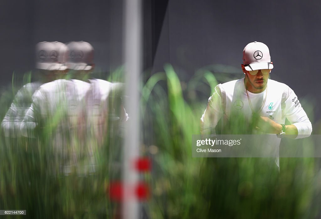 Lewis Hamilton of Great Britain and Mercedes GP walks in the Paddock during previews for the Formula One Grand Prix of Brazil at Autodromo Jose Carlos Pace on November 10, 2016 in Sao Paulo, Brazil.