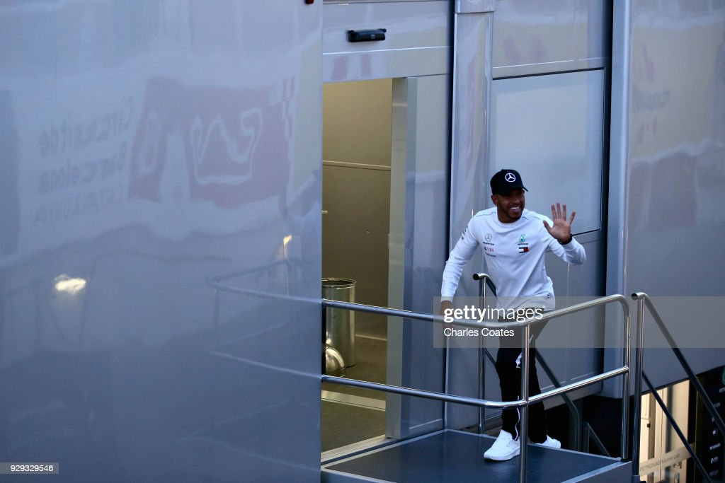 Lewis Hamilton of Great Britain and Mercedes GP walks in the Paddock during day three of F1 Winter Testing at Circuit de Catalunya on March 8, 2018 in Montmelo, Spain.