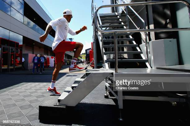 Lewis Hamilton of Great Britain and Mercedes GP walks in the Paddock before the Formula One Grand Prix of Austria at Red Bull Ring on July 1 2018 in...