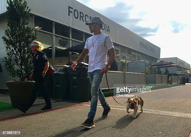 Lewis Hamilton of Great Britain and Mercedes GP walks into the paddock with his dog Coco during previews ahead of the United States Formula One Grand...