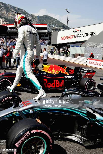 Lewis Hamilton of Great Britain and Mercedes GP walks off his car in parc ferme during qualifying for the Monaco Formula One Grand Prix at Circuit de...