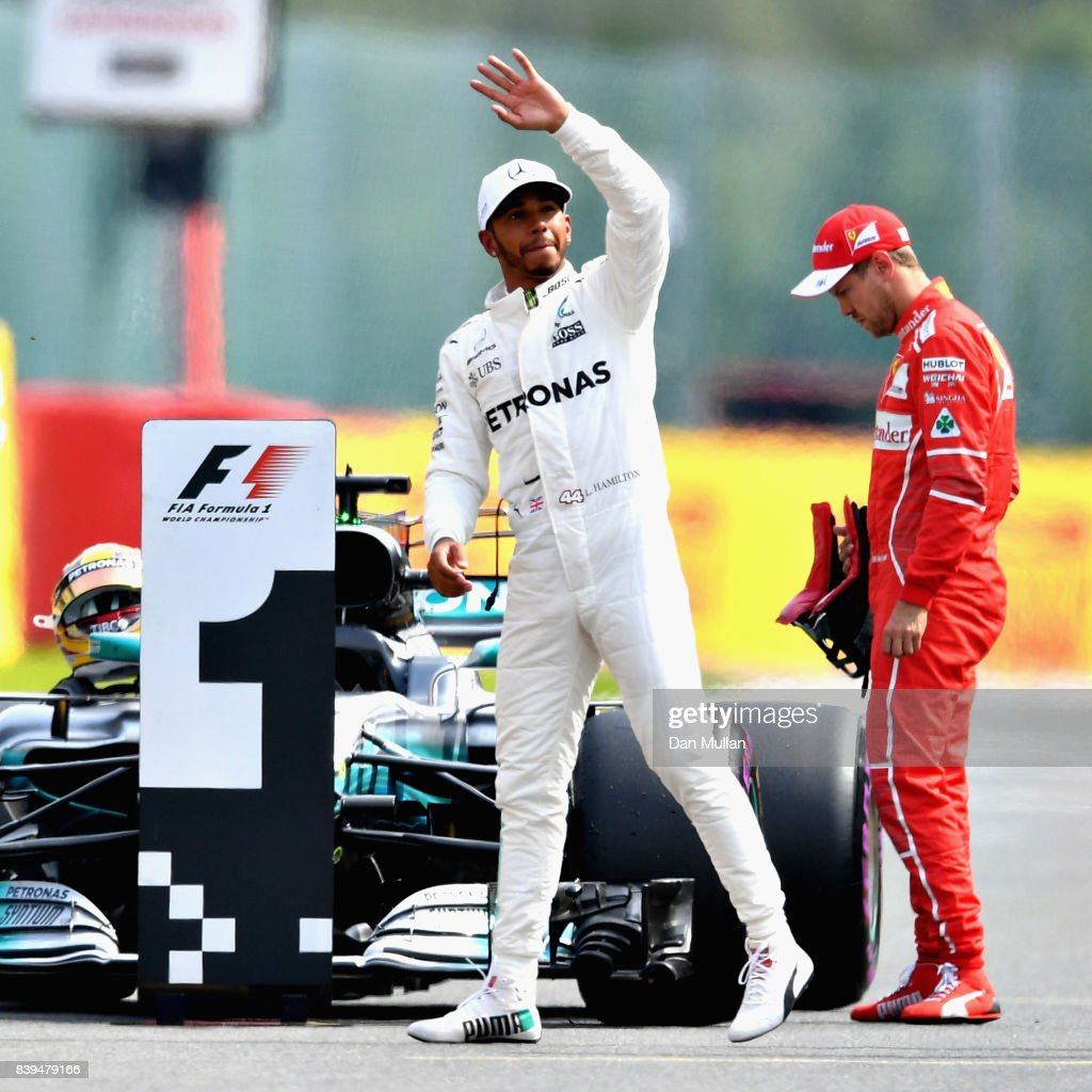 Lewis Hamilton of Great Britain and Mercedes GP waves to the crowd after qualifying on pole position during qualifying for the Formula One Grand Prix of Belgium at Circuit de Spa-Francorchamps on August 26, 2017 in Spa, Belgium.