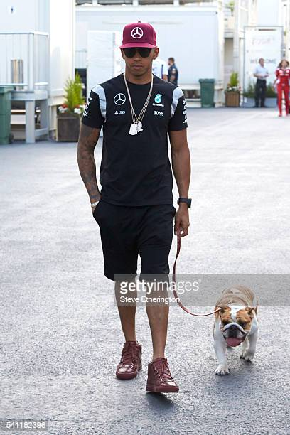 Lewis Hamilton of Great Britain and Mercedes GP with his dog Roscoe in the Paddock during previews ahead of the European Formula One Grand Prix at...