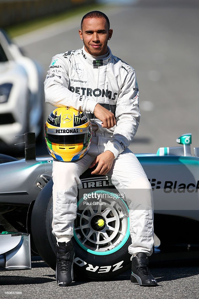 Lewis Hamilton of Great Britain and Mercedes poses during the Mercedes GP F1 W04 Launch at Circuito de Jerez on February 4, 2013 in Jerez de la Frontera, Spain.