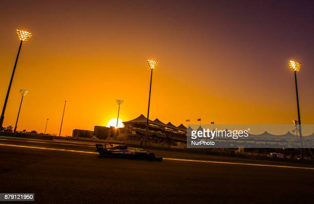 Lewis Hamilton of Great Britain and Mercedes Team driver goes during the third practice at Formula One Etihad Airways Abu Dhabi Grand Prix on Nov 25...