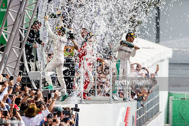 Lewis Hamilton of Great Britain and Mercedes wins the Formula One Grand Prix of Mexico at Autodromo Hermanos Rodriguez on October 30 2016 in Mexico...