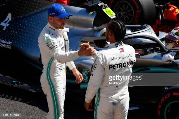 Lewis Hamilton of Great Britain and Valtteri Bottas of Finland and Mercedes-AMG Petronas Motorsport during the Pirelli GP de France 2019 at Circuit...