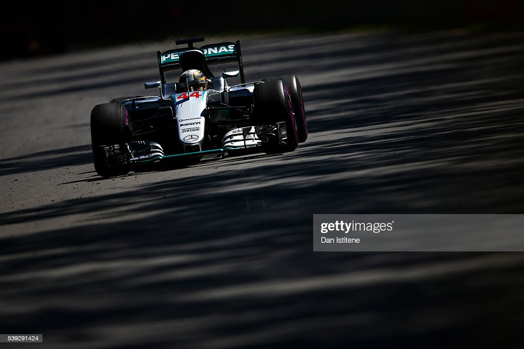 Lewis Hamilton of Great Britain drives the 4 Mercedes AMG Petronas F1 Team Mercedes F1 WO7 Mercedes PU106C Hybrid turbo during practice for the Canadian Formula One Grand Prix at Circuit Gilles Villeneuve on June 9, 2016 in Montreal, Canada.