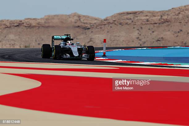 Lewis Hamilton of Great Britain drives the Mercedes AMG Petronas F1 Team Mercedes F1 WO7 Mercedes PU106C Hybrid turbo on track during practice for...