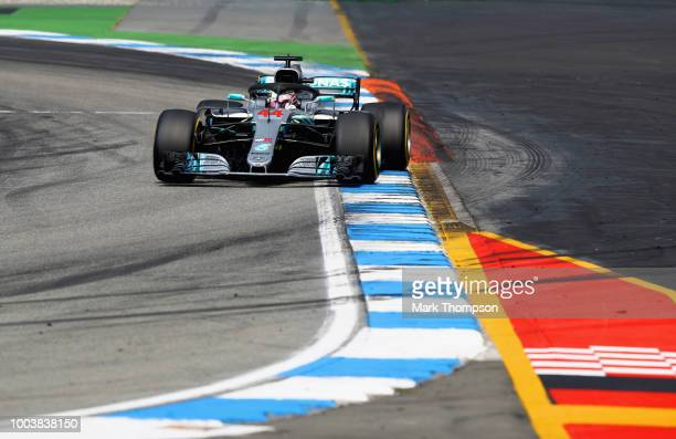 Lewis Hamilton of Great Britain driving the Mercedes AMG Petronas F1 Team Mercedes WO9 on track during the Formula One Grand Prix of Germany at...