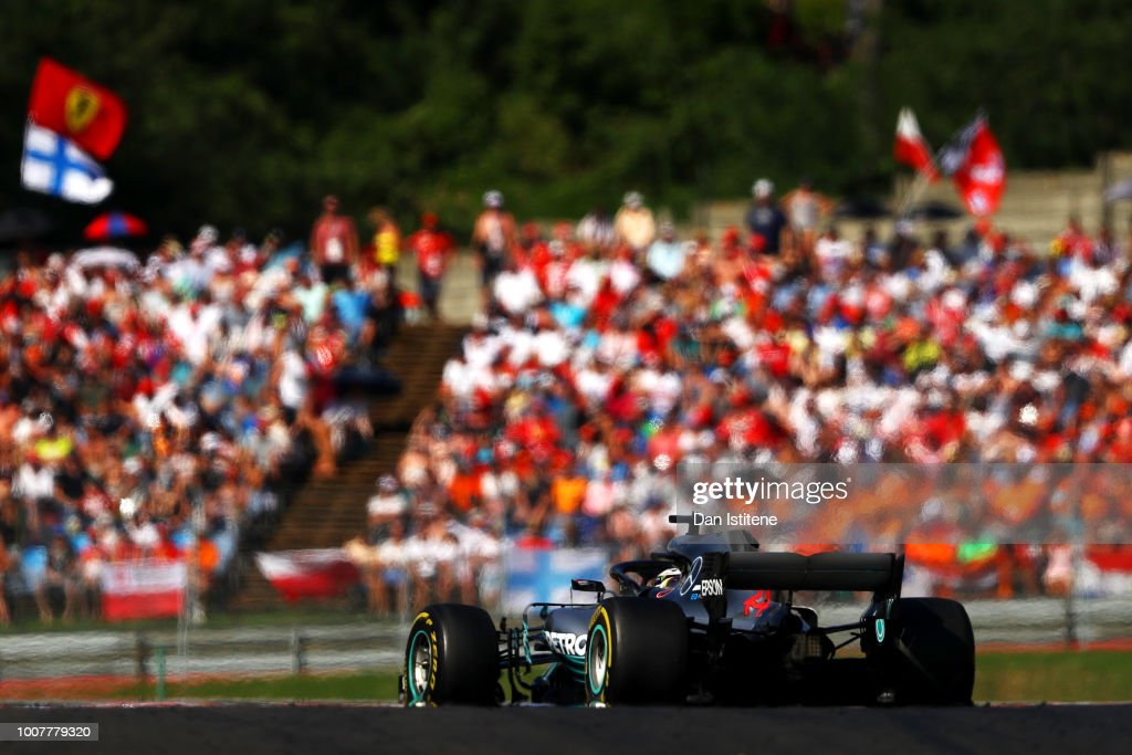 Lewis Hamilton of Great Britain driving the (44) Mercedes AMG Petronas F1 Team Mercedes WO9 during the Formula One Grand Prix of Hungary at Hungaroring on July 29, 2018 in Budapest, Hungary.