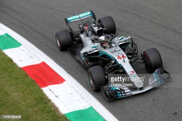 Lewis Hamilton of Great Britain driving the Mercedes AMG Petronas F1 Team Mercedes WO9 on track during the Formula One Grand Prix of Italy at...