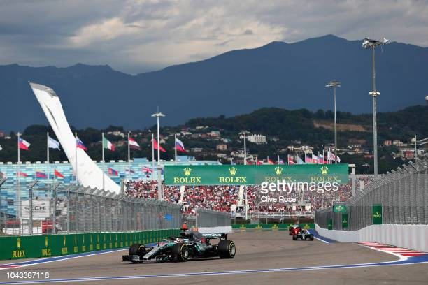 Lewis Hamilton of Great Britain driving the Mercedes AMG Petronas F1 Team Mercedes WO9 on track during the Formula One Grand Prix of Russia at Sochi...