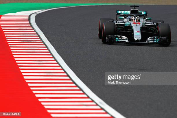 Lewis Hamilton of Great Britain driving the Mercedes AMG Petronas F1 Team Mercedes WO9 on track during final practice for the Formula One Grand Prix...