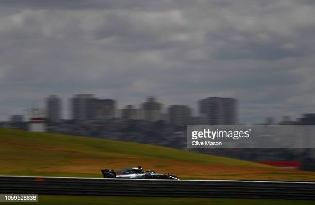 Lewis Hamilton of Great Britain driving the Mercedes AMG Petronas F1 Team Mercedes WO9 on track during practice for the Formula One Grand Prix of...