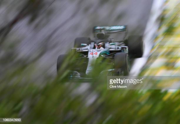 Lewis Hamilton of Great Britain driving the Mercedes AMG Petronas F1 Team Mercedes WO9 on track during the Formula One Grand Prix of Brazil at...