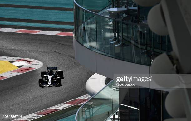 Lewis Hamilton of Great Britain driving the Mercedes AMG Petronas F1 Team Mercedes WO9 on track during practice for the Abu Dhabi Formula One Grand...