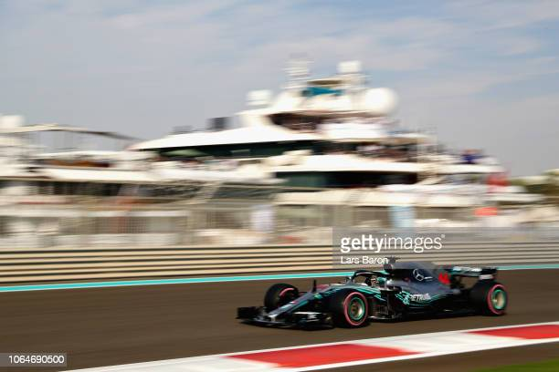 Lewis Hamilton of Great Britain driving the Mercedes AMG Petronas F1 Team Mercedes WO9 on track during final practice for the Abu Dhabi Formula One...