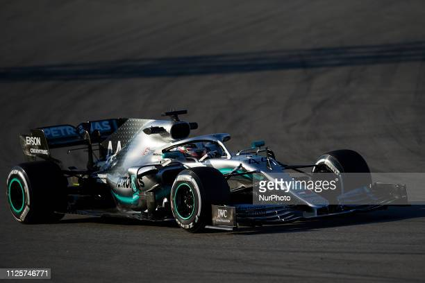 Lewis Hamilton of Great Britain driving the Mercedes AMG Petronas F1 Team Mercedes W10 during day one of F1 Winter Testing at Circuit de Catalunya on...