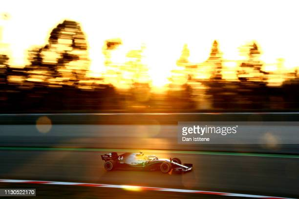 Lewis Hamilton of Great Britain driving the Mercedes AMG Petronas F1 Team Mercedes W10 on track during day one of F1 Winter Testing at Circuit de...