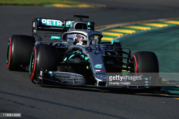 Lewis Hamilton of Great Britain driving the Mercedes AMG Petronas F1 Team Mercedes W10 on track during practice for the F1 Grand Prix of Australia at...